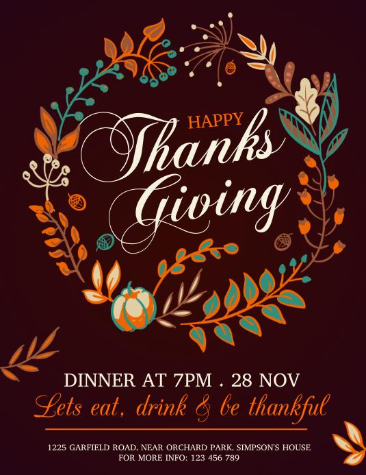 thanksgiving flyer, thanksgiving sale, turkey Pamflet (Letter AS) template
