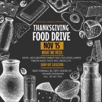 Thanksgiving food drive, thanksgiving โพสต์บน Instagram template