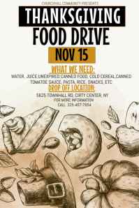 Thanksgiving food drive, thanksgiving Póster template