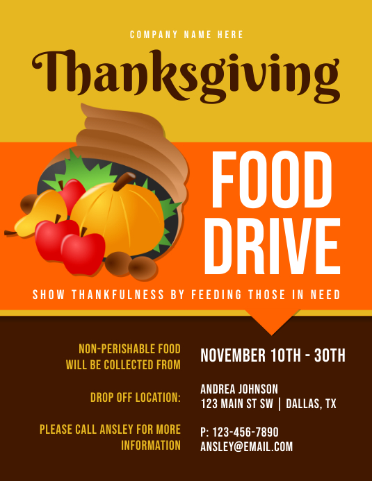 Thanksgiving Food Drive Løbeseddel (US Letter) template