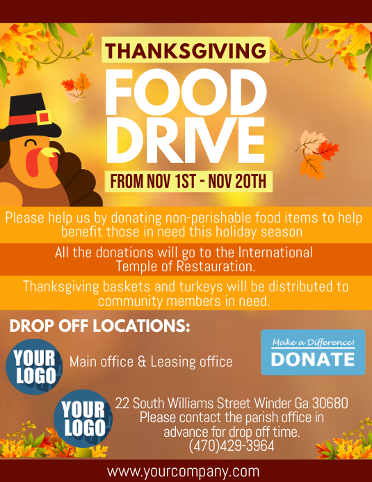 Thanksgiving Food Drive Volante (Carta US) template