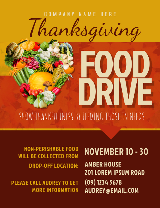 Thanksgiving Food Drive Flyer Template  Can Food Drive Flyer Template