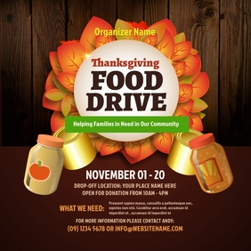 Thanksgiving Food Drive Instagram Post template