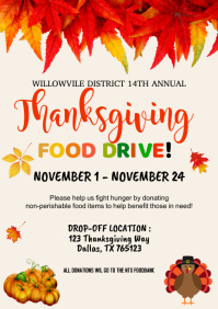 Thanksgiving Food Drive Invitation A4 template