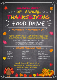 Thanksgiving food drive invitation template A4