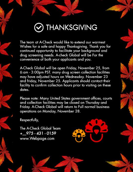 Une Modele De Courrier Electronique De Lettre De Voeux De Thanksgiving Postermywall