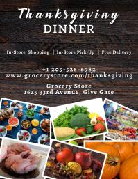 Thanksgiving Grocery Store Flyer 传单(美国信函) template
