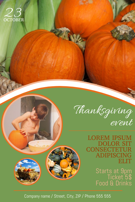 thanksgiving harvest festival dinner fair flyer template