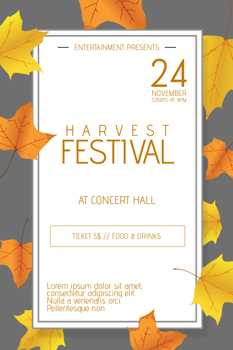 thanksgiving harvest festival poster flyer template postermywall