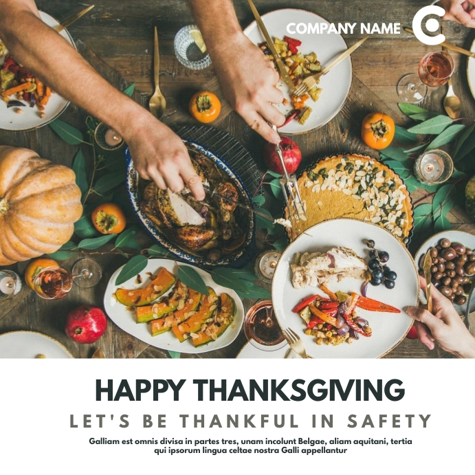 thanksgiving in safety instagram post adverti Square (1:1) template