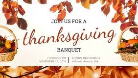 Thanksgiving Invitation Facebook Cover Video Template