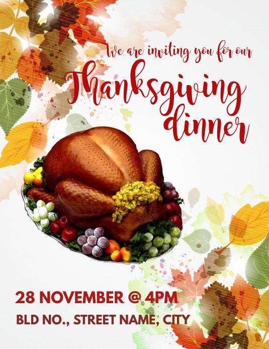 Thanksgiving Invite Løbeseddel (US Letter) template