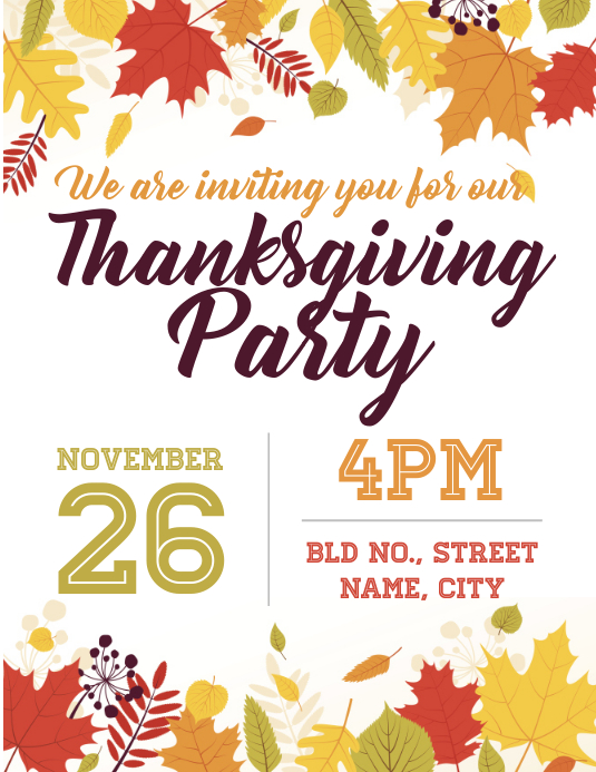 Thanksgiving Invite Template Postermywall