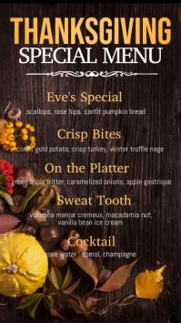 thanksgiving menu, thanksgiving , fall menu Digital Display (9:16) template