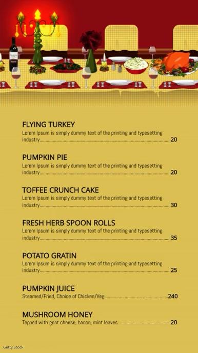 Thanksgiving menu Digitalt display (9:16) template