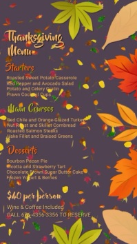 Thanksgiving Menu Digital Template