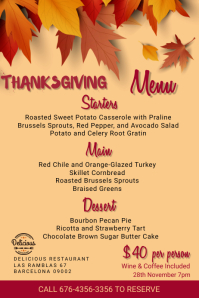 Thanksgiving Menu Template Póster