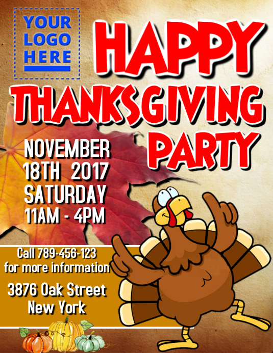 Thanksgiving Party 2017 Flyer (US Letter) template