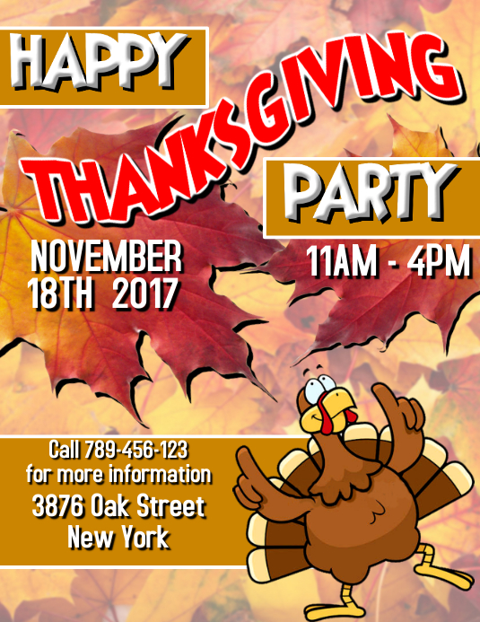 Customizable design templates for invitation flyer event flyer thanksgiving party 2017 wedding flyer template stopboris Images