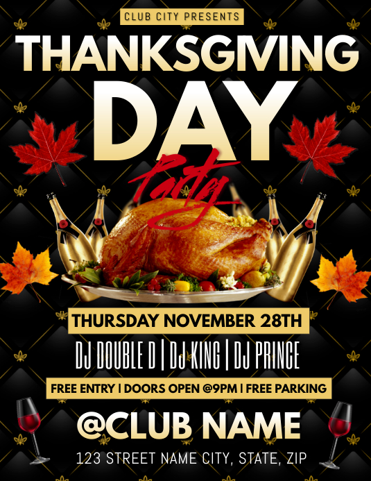 Thanksgiving Party Club Flyer Template Postermywall