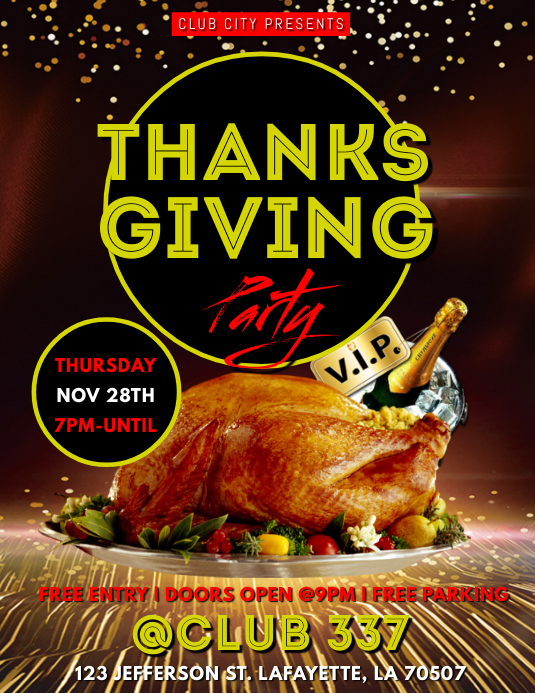 THANKSGIVING PARTY FLYER ใบปลิว (US Letter) template