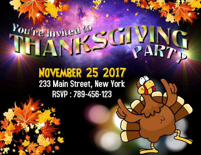 Customizable Design Templates For Thanksgiving Invitation PosterMyWall - Thanksgiving party invitation templates