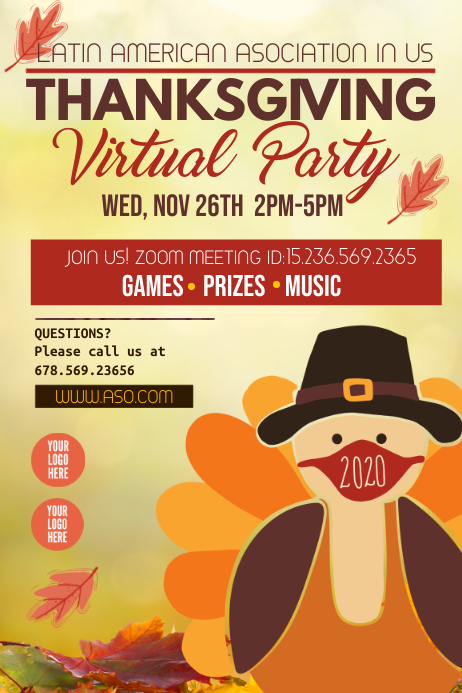 Thanksgiving Party / Thanksgiving Virtual Poster template
