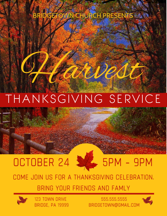 Thanksgiving Flyer Ulotka (US Letter) template