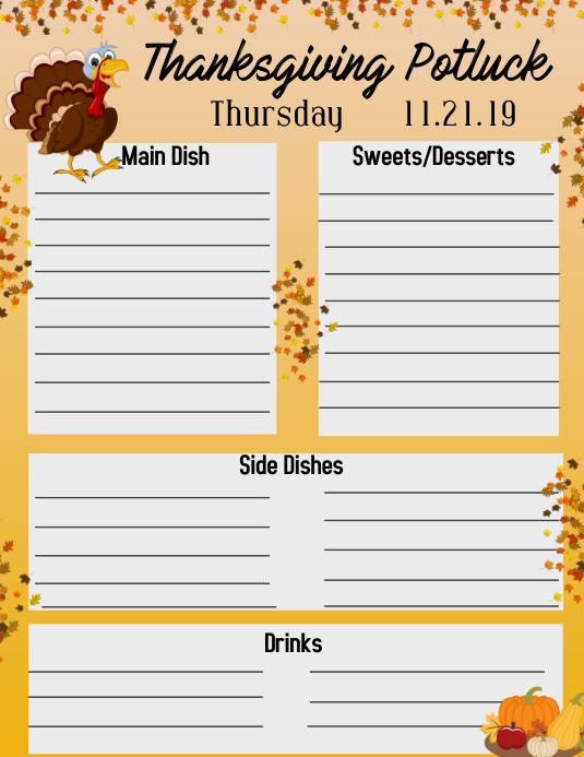 Thanksgiving Potluck Folder (US Letter) template