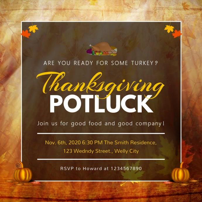 Thanksgiving Potluck Invitation Square Video