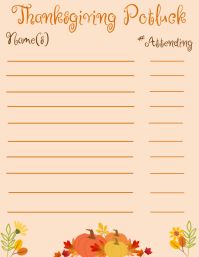 Thanksgiving Potluck Sign-Up Flyer (format US Letter) template