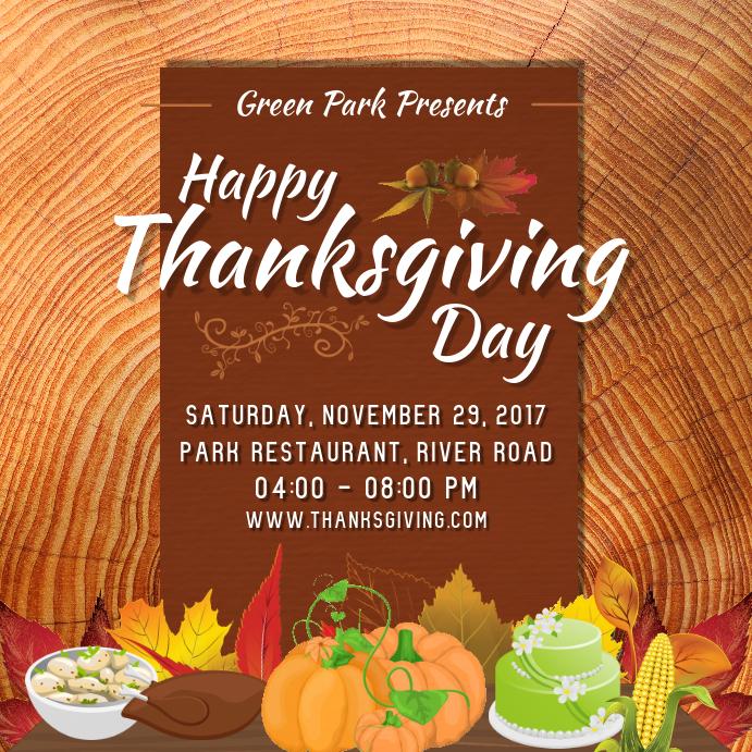 Thanksgiving Restaurant Invite Square Image