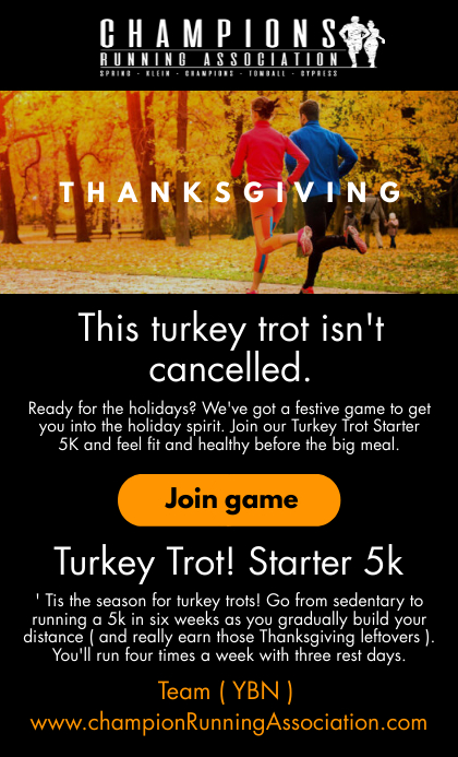 Thanksgiving Running Email Template US Legal