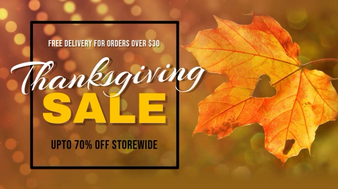 Thanksgiving Sale Brown Digital Display Video
