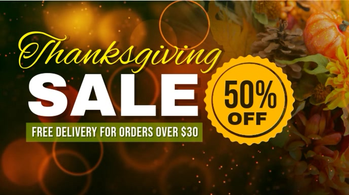 Thanksgiving Sale Video Digital Display template