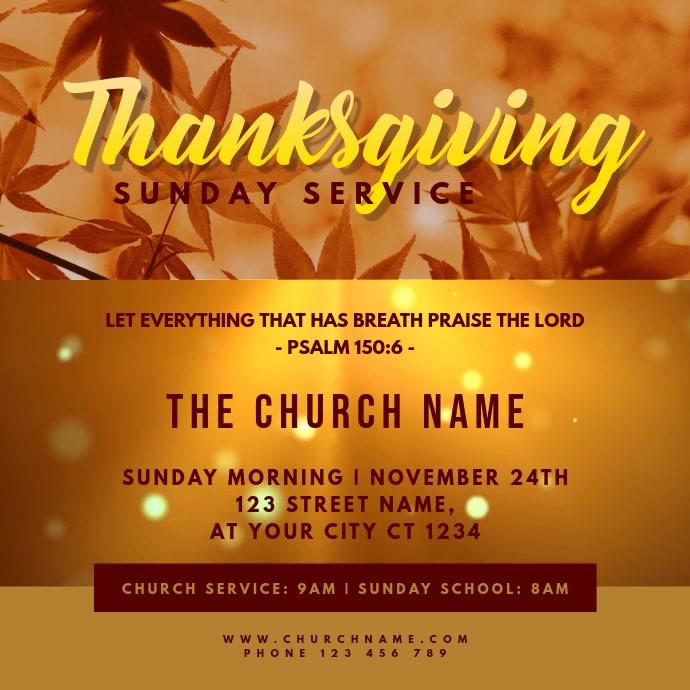 Thanksgiving Service Church Worship Kvadrat (1:1) template