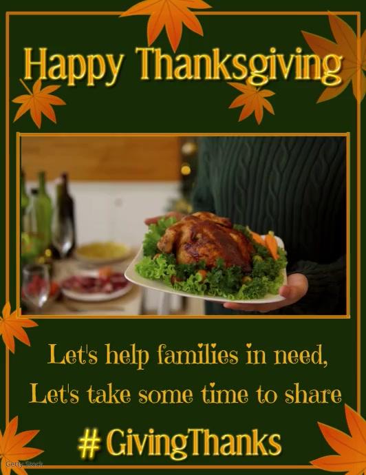 Thanksgiving Share Video Løbeseddel (US Letter) template