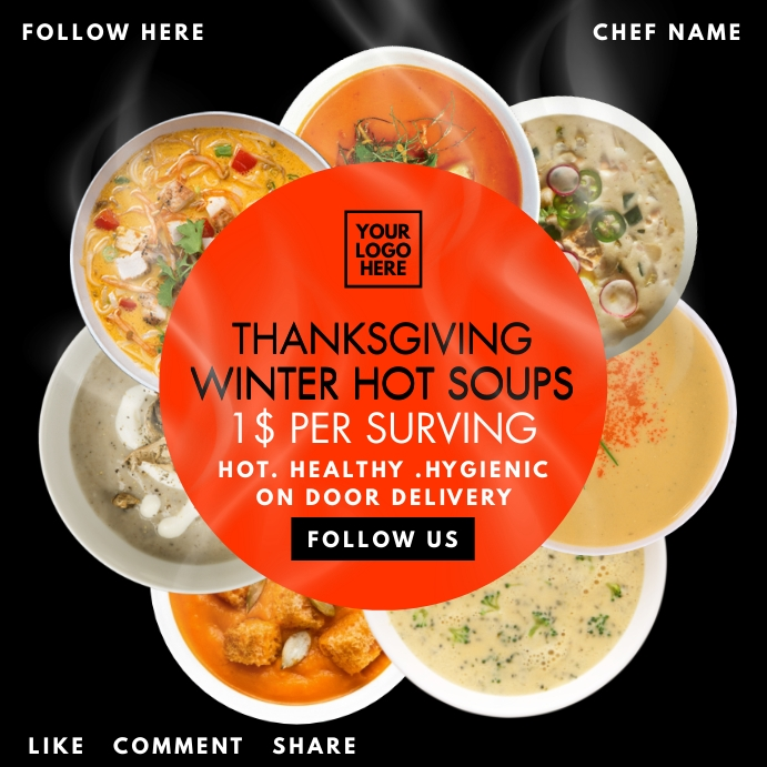Thanksgiving Soup Service Post Template Persegi (1:1)