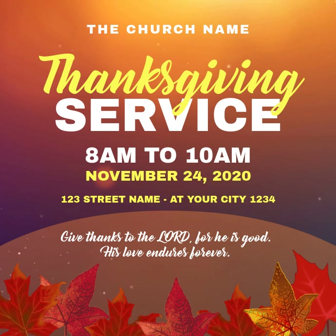 Thanksgiving Sunday Service Church Square (1:1) template