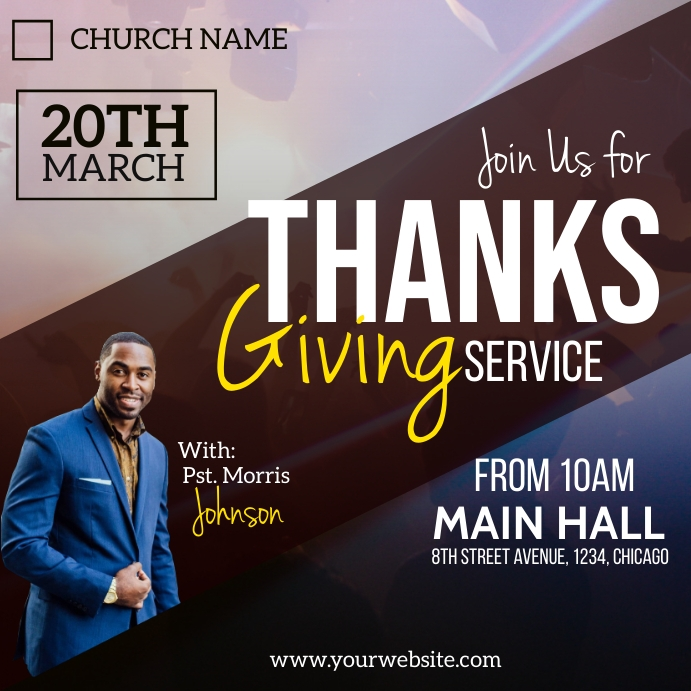thanksgiving sunday service poster template