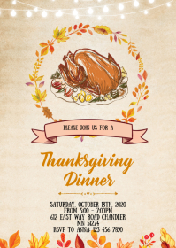 Thanksgiving theme party invitation
