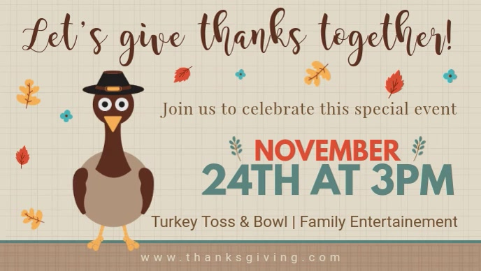 Thanksgiving Turkey Dinner Facebook Cover Invitation Facebook-omslagvideo (16:9) template
