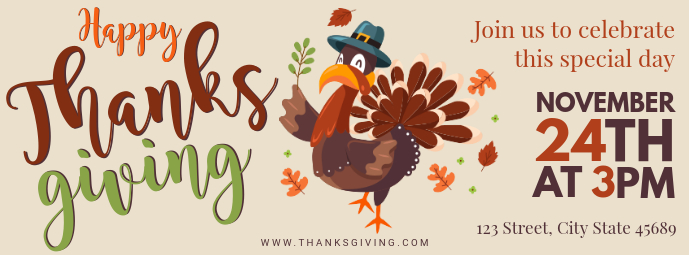 thanksgiving turkey dinner invite facebook cover template postermywall