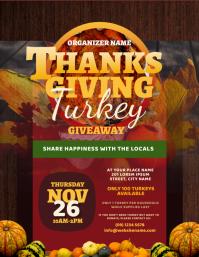 Thanksgiving Turkey Giveaway Flyer Folheto (US Letter) template