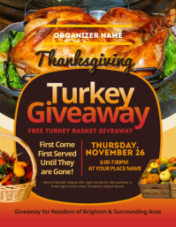 Thanksgiving Turkey Giveaway Flyer ใบปลิว (US Letter) template