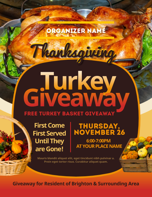 Thanksgiving Turkey Giveaway Flyer template