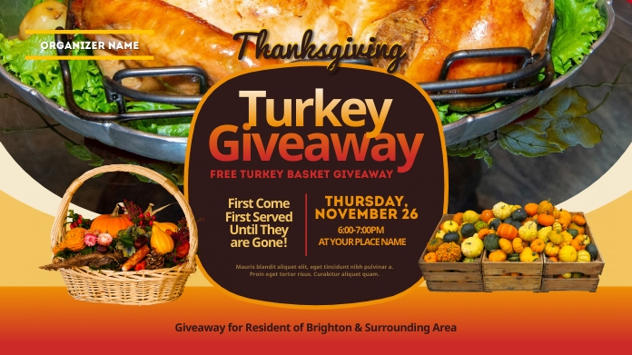 Thanksgiving Turkey Giveaway Twitter Post template