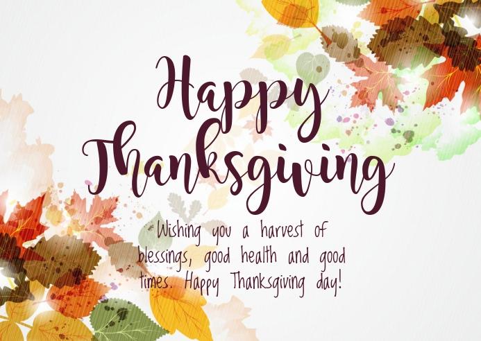 Thanksgiving wishes Kartu Pos template