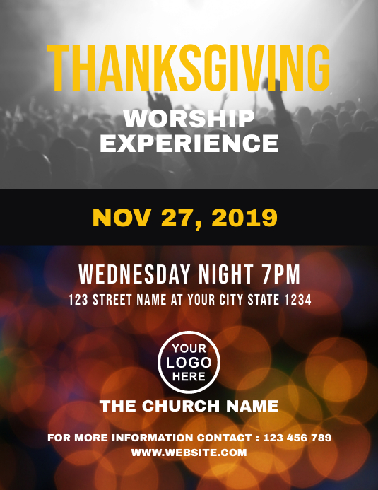 Thanksgiving Worship Church Flyer Template