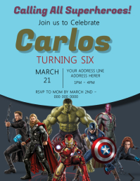 The Avengers Kids Party Invitation Template